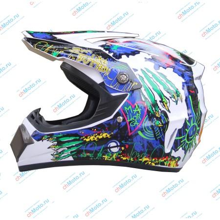 Кроссовый шлем белый-граффити   AHP AHP-WG5