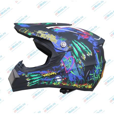 Кроссовый шлем черный-граффити матт | AHP AHP-BG5