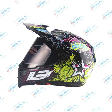 Кроссовый шлем с защитным стеклом черный граффити | AHP AHP-BG6