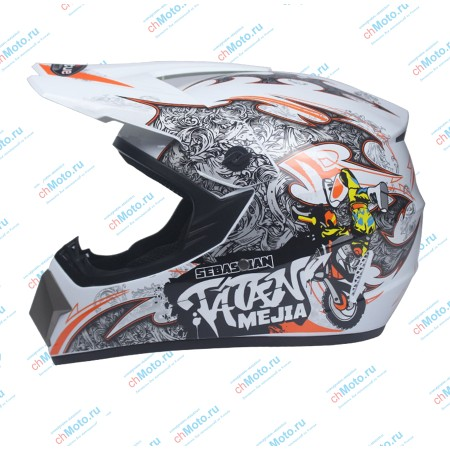 Кроссовый шлем Sebastian Tatan Mejia white   AHP AHP-STMW15