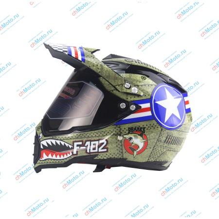 Кроссовый шлем с защитным стеклом F-102 | AHP AHP-F102