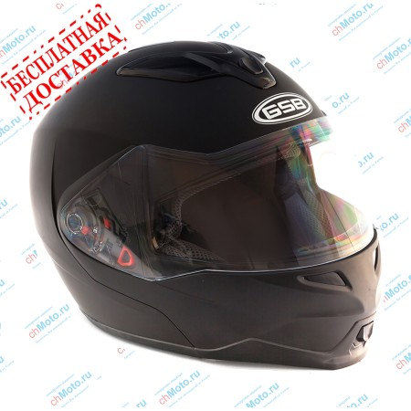 Шлем модуляр G-339 BLACK MATT с солнцезащитными очками  | GSB