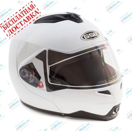 Шлем модуляр G-339 WHITE GLOSSY с солнцезащитными очками  | GSB