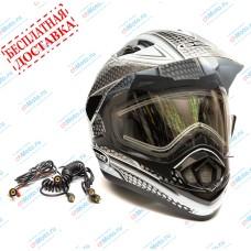 Снегоходный шлем XP-14 A SNOW WHITE BLACK   GSB