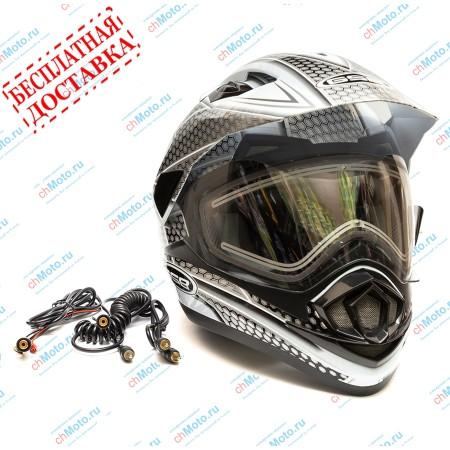 Снегоходный шлем XP-14 A SNOW WHITE BLACK | GSB