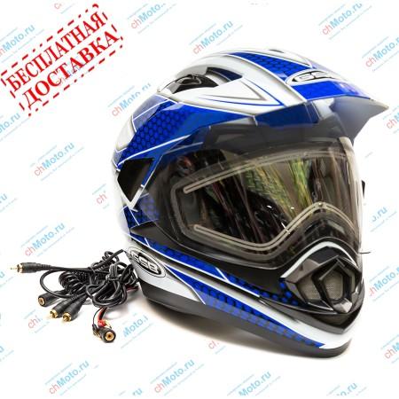 Снегоходный шлем XP-14 A SNOW WHITE BLUE | GSB