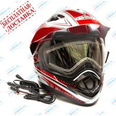 Снегоходный шлем XP-14 A SNOW WHITE RED   GSB
